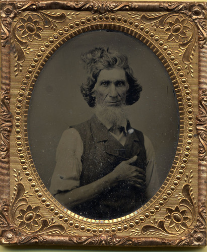 ca. 1860's, [ambrotype portrait of a leonine gentleman] via Ebay