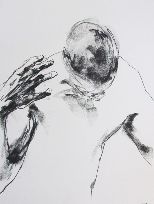 mydarkenedeyes:  Derek Overfield. (Charcoal on paper, 2012).