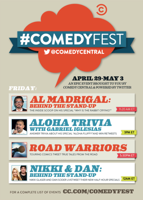 Rise and shine, #ComedyFesters! It's the last day of #ComedyFest and we're getting an early start with Al Madrigal: Behind the Stand-Up. Tune-in to Comedy Central at 11:20am EST to watch Al's stand-up special, Why Is the Rabbit Crying?, and follow @AlMadrigal and @SteveRannazzisi as they live-tweet. Visit cc.com/comedyfest for more on today's events and be sure to follow @ComedyCentral on Twitter.