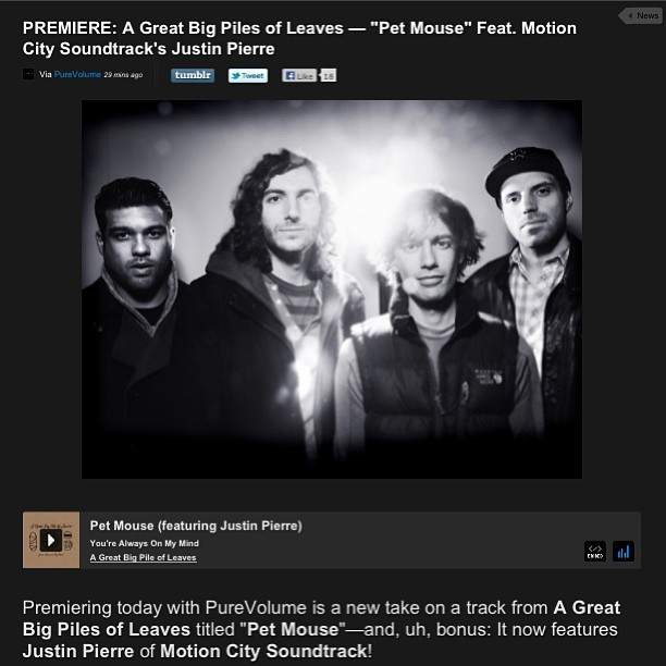Click HERE out another track from our new record over at Purevolume!