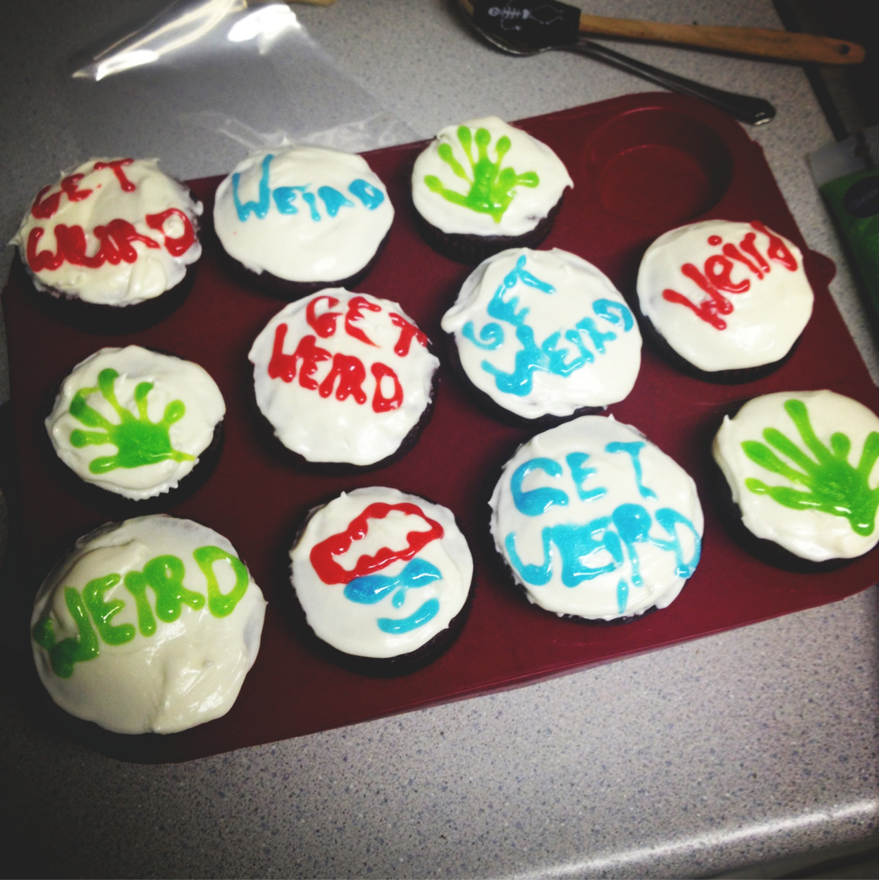 The red velvet Weird Wednesday Workaholics cupcakes I made
