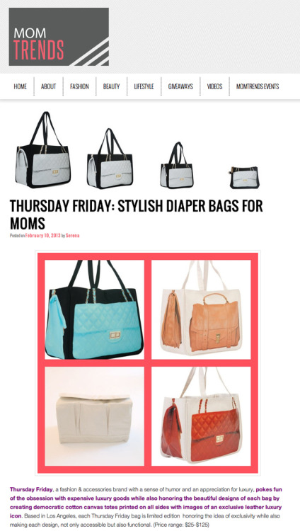 Thanks @momtrends for featuring our Together bags as the stylish alternative to a diaper bag. Check out the perfect carry-all for moms here.