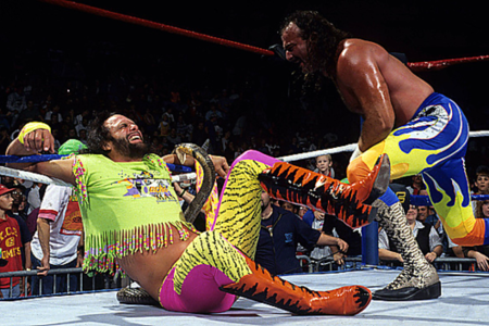 space-arcadia:  Macho Man Randy Savage vs. Jake The Snake Roberts (WWF This Tuesday in Texas, 1991)