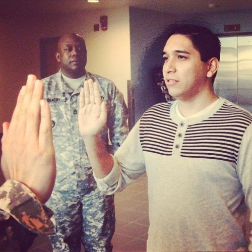 dangergreenz:   @neckfeathaz being a cutie and reenlisting 🇺🇸 #army #boyfriend   this is me swearing in a second time. when i did it the first time, i never thought i'd do it again. just goes to show, you never know where life will lead you! reserves, so i hadn't had a haircut for like 2 weeks.