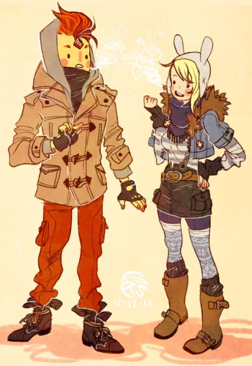 roachpatrol:  rule63rules:  [Image: Flame Prince and Fionna from Adventure Time, bundled up in fashionable winter clothes.] herringbones:  iiiiiittt's WINTER TIME!    clothesssssssss