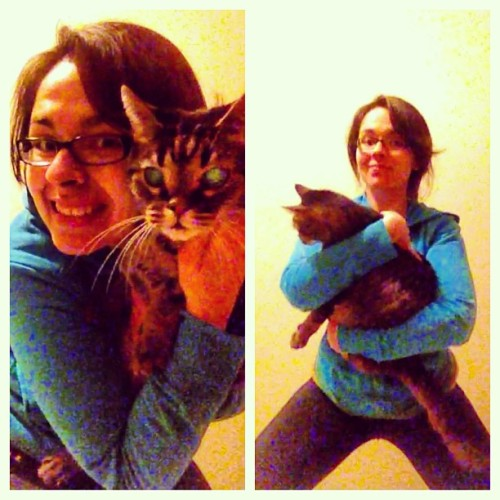 Trying to catch up! Day four: sumo #squat… with a 15lb #cat! #sweataday @shauna_harrison @underarmour @uawomen #fitness