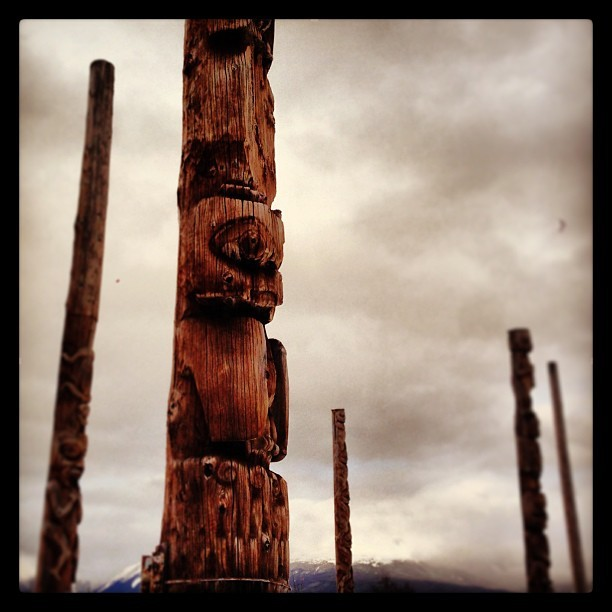 A field of First Nation totem poles. #native #firstnation #iphonephotography #BC #totempole #nativeart #art #history #nativehistory