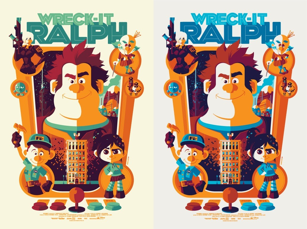 I'm selling both of my Wreck-It Ralph Posters by Tom Whalen on Ebay right now as a set. They are both sold out and the starting bid is just under what I originally paid for them. So if you win them, you'll likely get them for the original cost from Mondo. Please take a gander and spread the word if you or anyone you know might be interested!  Ebay.