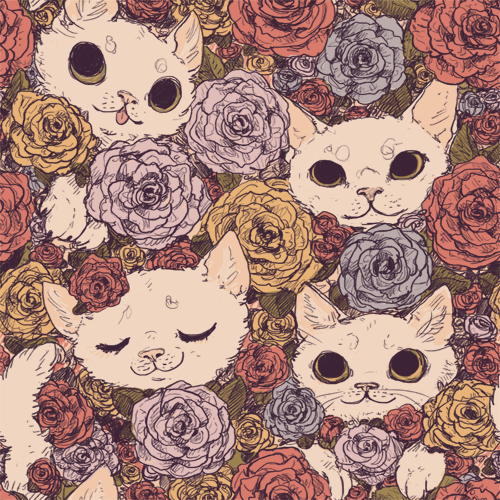 goat-soap:  floral cat pattern! use all ya want silly fuckers