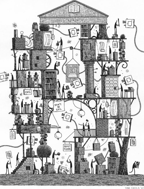 drawingarchitecture:  'The Library' Tom Gauld