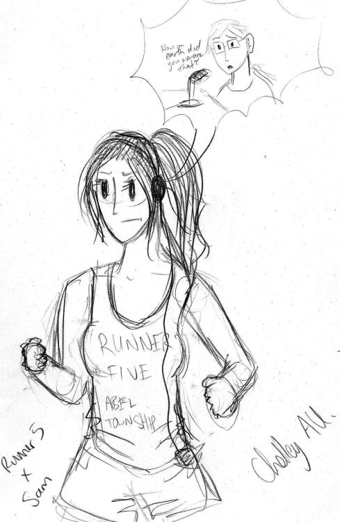 Reeeealllllyyy rough drawing of Runner 5 and Sam from Zombies, Run!  I picture them as Chell and Wheatley.  Also, buy Zombies, Run! It's an expensive app, but totally worth it.