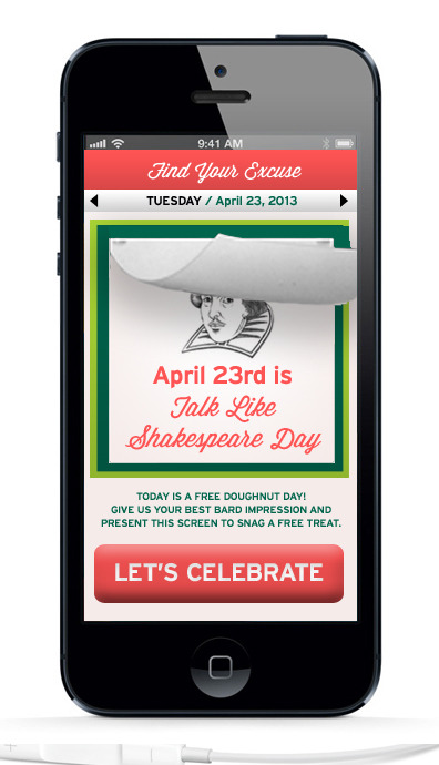 "Part of the ""Any Excuse to Celebrate"" campaign. This mobile app lets customers (especially children of customers) interact with the campaign through an updated-daily ""Day to Celebrate."" Each day will feature a different feature: free doughnut, trivia questions, fun facts, and electronic games entice the audience to check back frequently, ensuring Krispy Kreme is top of mind."