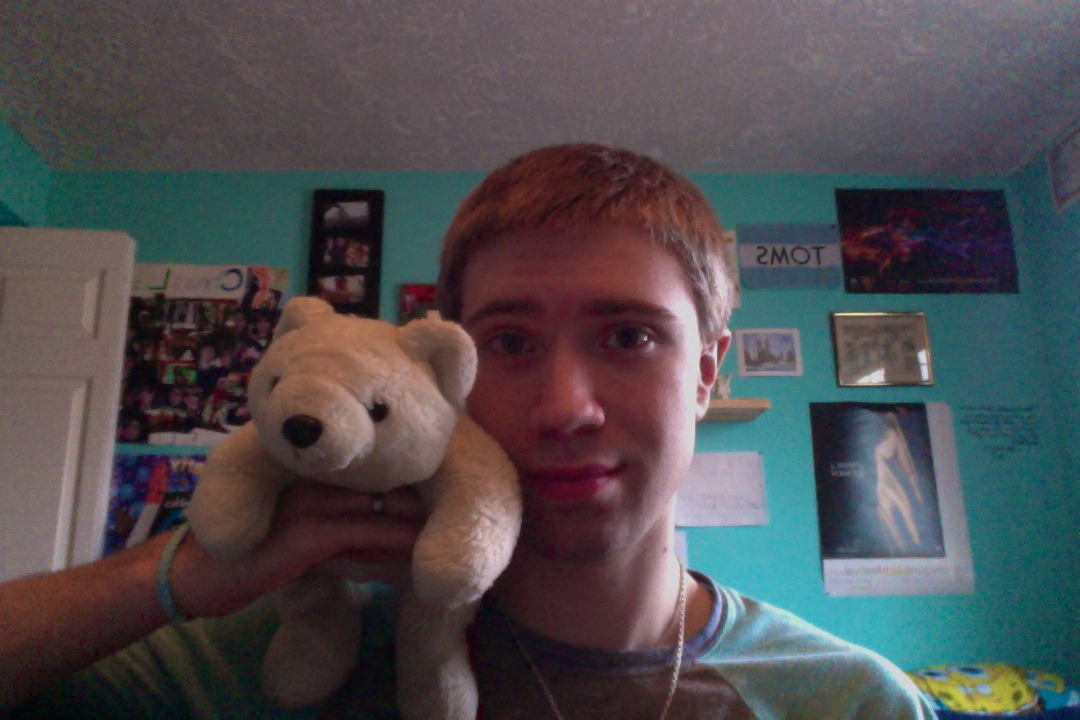 Cleaning out my closet and look who I found :) His name is frosty and I got him when I was about six or so, as  a Christmas present.  Still the best bear I know :P