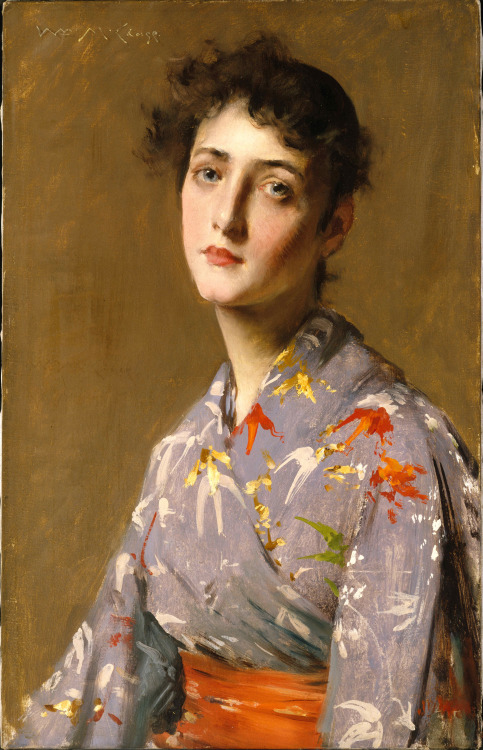 Girl in Japanese costume 1890, by William Merritt Chase