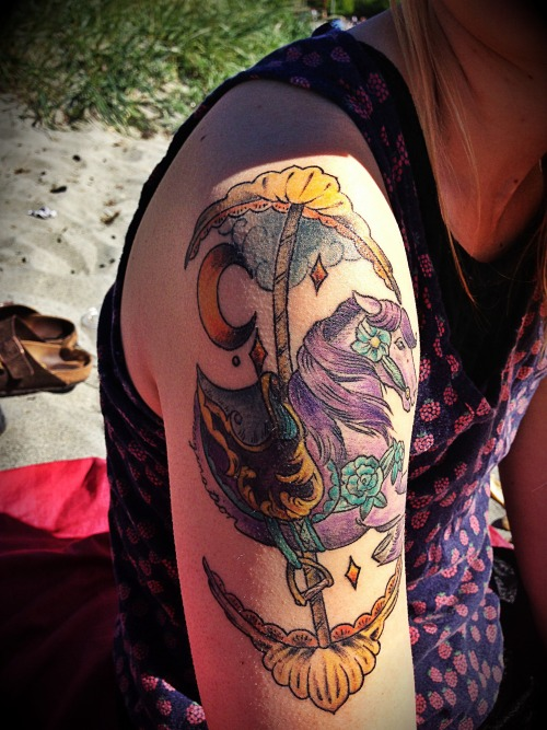 fuckyeahtattoos:  Carousel horse done by Shauna at Grizzly Tattoo in Portland Oregon. lunaticfringes.tumblr.com  *~*