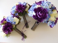 Purple Blue Ivory Grey and Silver Combo Bridal by LKWeddingBouquet via [Enzie Shahmiri Designs]