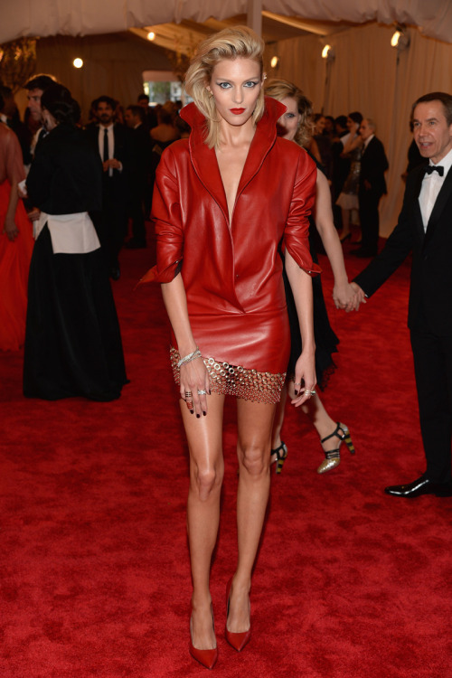 Anja Rubik takes my Met Gala blue ribbon this year. Her Anthony Vacarello leather mini is fetch as hell.Love it as much as I do? The thing is already on pre-order at Moda Operandi.