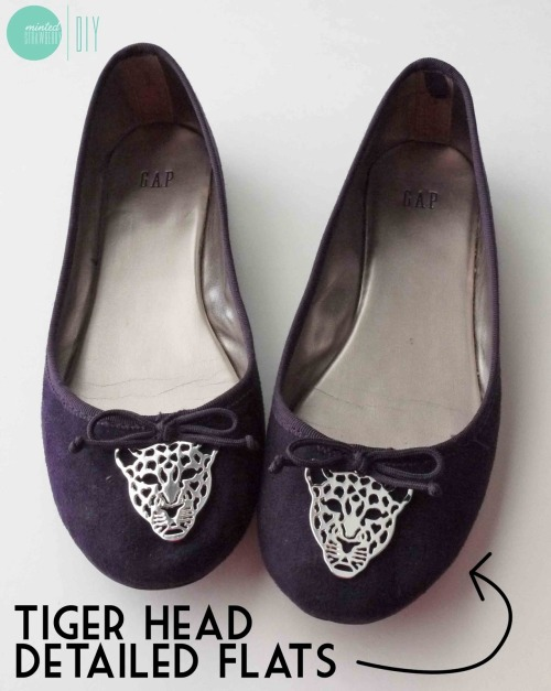 DIY Beyond Easy Tiger Ballerina Flats Tutorial from Minted Strawberry here. These tigers are cheap earrings from Forever21 and if you do this DIY right (no glue) they are reversible if you get tired of them.