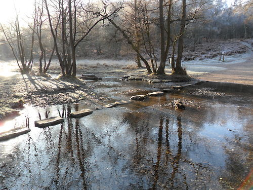 Stepping Stones in frosty Winter sunshine, Cannock Chase, Staffordshire , England.