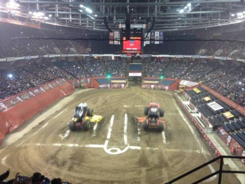 Jirivarren had this excellent view of Monster Jam. The trucks are revving their engines & on their back tires in their excellent photo from Copps Coliseum. (via Copps coliseum section 219 row 5 seat 3 shared by jirivarren)