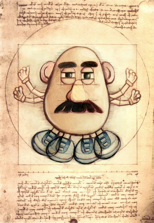 thefrogman:  Vitruvian Potato by Katrina Constantine [tumblr] In collaboration with Awkward Elevator [tumblr] PREVIOUSLY… The History and Social Influence of the Potato Volume 1