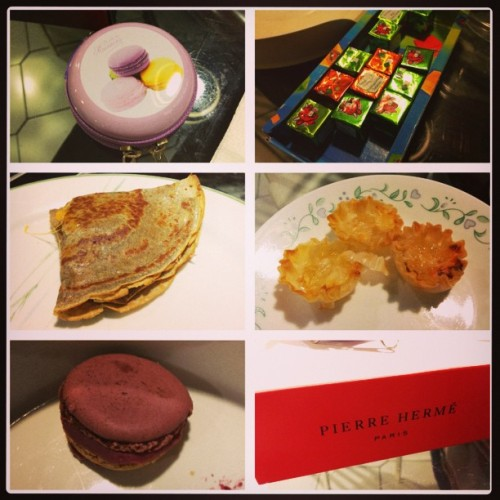 Awesome treats from paris. <3 #innerfatty #frenchmacarons #crepes #cheese #bucketlist #pierrehermé