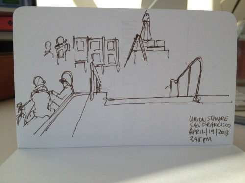 2 min. Union Square sketch in San Francisco