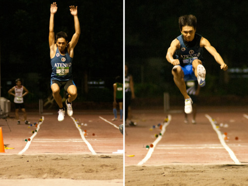 JB Capinpin and Joseph Reyes during the Mens Long Jump in the 75th UAAP Track and Field Competition. December 5,2012|Ultra, Pasig CIty