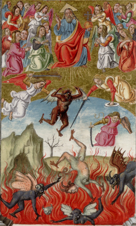 San Marino, Huntington Library, HM 01046, detail of 245v (fall of Lucifer and the rebel angels). Offices for the week, compiled by Andrea Matteo Acquaviva. Southern Italy, 1519