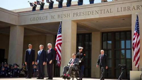 TOP:  Photo of President Barack Obama and former presidents George W. Bush, Bill Clinton, George H. W. Bush and Jimmy Carter at the dedication of the George W. Bush presidential library in University Park, Texas on Thursday by Stephen Crowley / The New York Times. BOTTOM:  A poorly-wrought Microsoft Paint of what everyone there was thinking would happen. (Apologies to the Times)