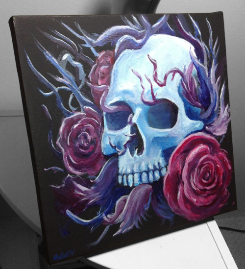 Skull and Roses painting on 10x10 black canvas. Soon on my Etsy