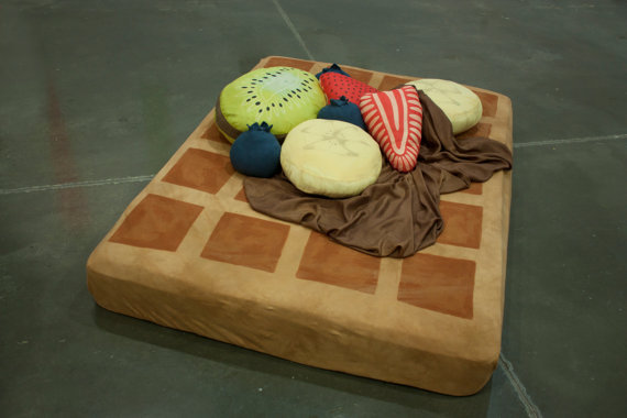 tiit:  waffle and syrup bed sheets with fruit pillows