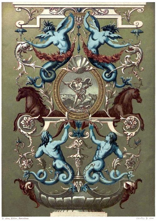 Decorative painting from the Apollo gallery in the Louvre, XVI century.  From Galería del arte decorativo (Gallery of Decorative Art) vol. 2, collective work, Barcelona,  1890.  (Source: Universitat Autonoma de Barcelona)