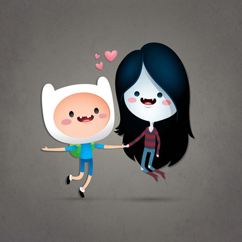 What time is it…?  Adventure Time's Finn and Marceline illustrated by Jerrod Maruyama :: via jmaruyama