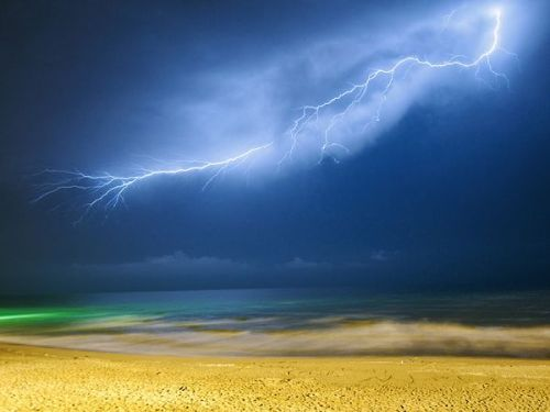 Lightning, Iran After three years I went to visit my family in Iran. We traveled to the city of Mahmood Abad in the north of Iran and had the most amazing time together. One night as I was walking on the shore of the Caspian Sea with my sister, I saw distant lightning. I ran to the hotel, grabbed my camera and tripod, and came back. I took many long exposures, but it was only in the second shot that I captured the biggest, most beautiful, and the last lightning of that night.. (text/photo: Amir Ali Sharifi)                        (via: National Geo)