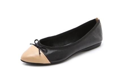 I love the pointed/round toe hybrid on this pair of cap toe flats by Steven by Steve Madden ($99, also available in red/orange and mint/teal).