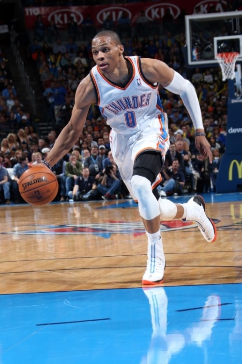Russel Westbrook in custom OKC Thunder Air Jordan XX8's