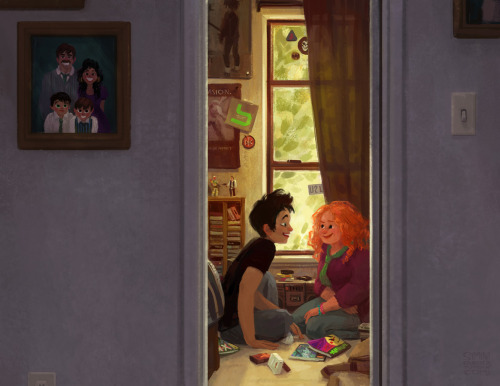 rainbowrowell:  siminiblocker:  Eleanor and Park hangin' out.  I wanted to push myself to do something with a more thought out background. And since one my favorite things about E&P are all the details this seemed like a perfect opportunity.  I keep trying to type something in this space, and I keep deleting it. This is beautiful. This is perfect. This is exactly what Park's room looks like in my head. I can hardly believe that an artist as incredible as Simini Blocker has found this much inspiration — or any inspiration at all — in my characters … I would be a fan of Simini's work even if she'd never read my book. The fact that there's Eleanor & Park fan art — amazing Eleanor & Park fan art — is the most miraculous part of this whole experience so far. THANK YOU SO MUCH.   This is so amazing.