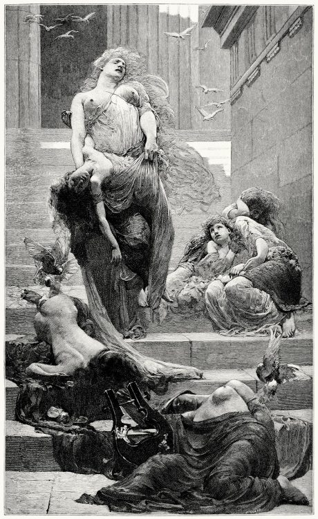 oldbookillustrations:  Niobe, from a picture by Solomon J. Solomon.  From The magazine of art, London, 1888.  (Source: archive.org)