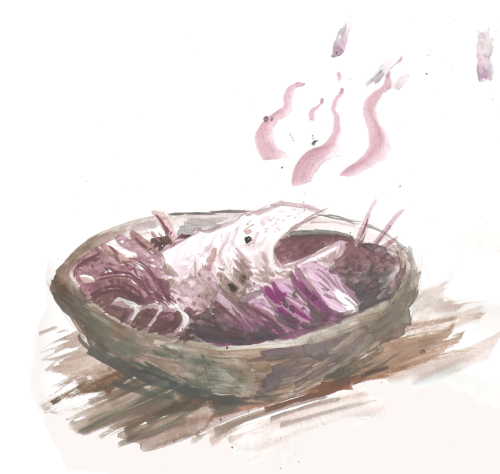 fuckyeahdwarffortress:  watercolour - horrible food by ~Fault-Classic But was it really, really well minced?