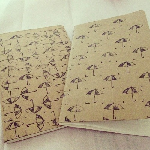 Some hand printed notebooks I did=) #notebooks #print #pretty #prints #umbrellas #singinintherain #singin #blocks #craft #cute #instadaily #bored