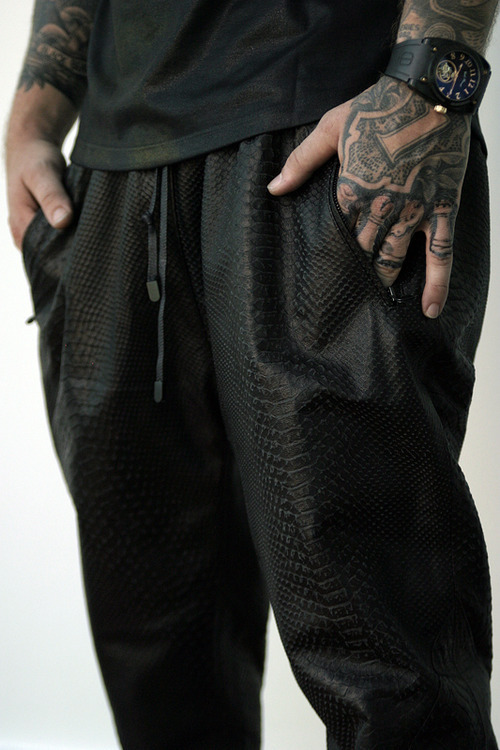 theclassyissue:  En Noir snake skin sweats you can get them here http://www.viveennoir.com/embossed-snakeskin-sweat.html