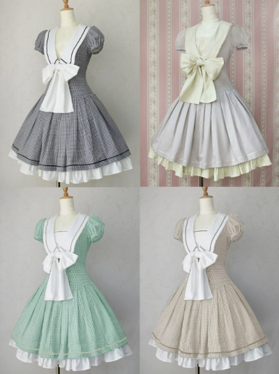 ruutumieli:  Victorian maiden Gingham Marine Ribbon Dress is up for reserve!