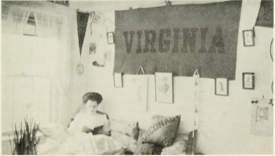 1967 Briar Patch- a student reads in her dorm room…that is definitely located in Virginia.