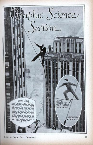 Story about rope walking between unidentified buildings in the Loop, 1930, Chicago. Modern Mechanix