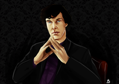 Secret Santa artwork for Ibelieve-inSherlock  Because Cumberportraits are always a winner.