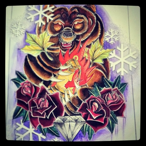 Bear final #tattoo #flash #snow #paint #aquarelle #art #diamond #cimonsattiaux