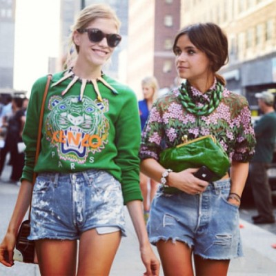 #KENZO #riseandglam #street #chic #green #cutoffs #accessories #statementnecklace #trendygirls #fashionisfun