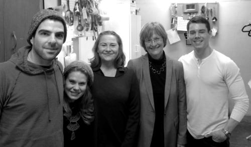 theglassmenagerie-boston:  The cast with Harvard University President Drew Faust backstage after she saw the production.