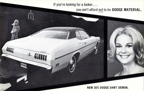 1971 Dodge Dart Demon with Miss Cheryl Miller, Dodge Girl by aldenjewell on Flickr.1971 Dodge Dart Demon with Miss Cheryl Miller, Dodge Girl